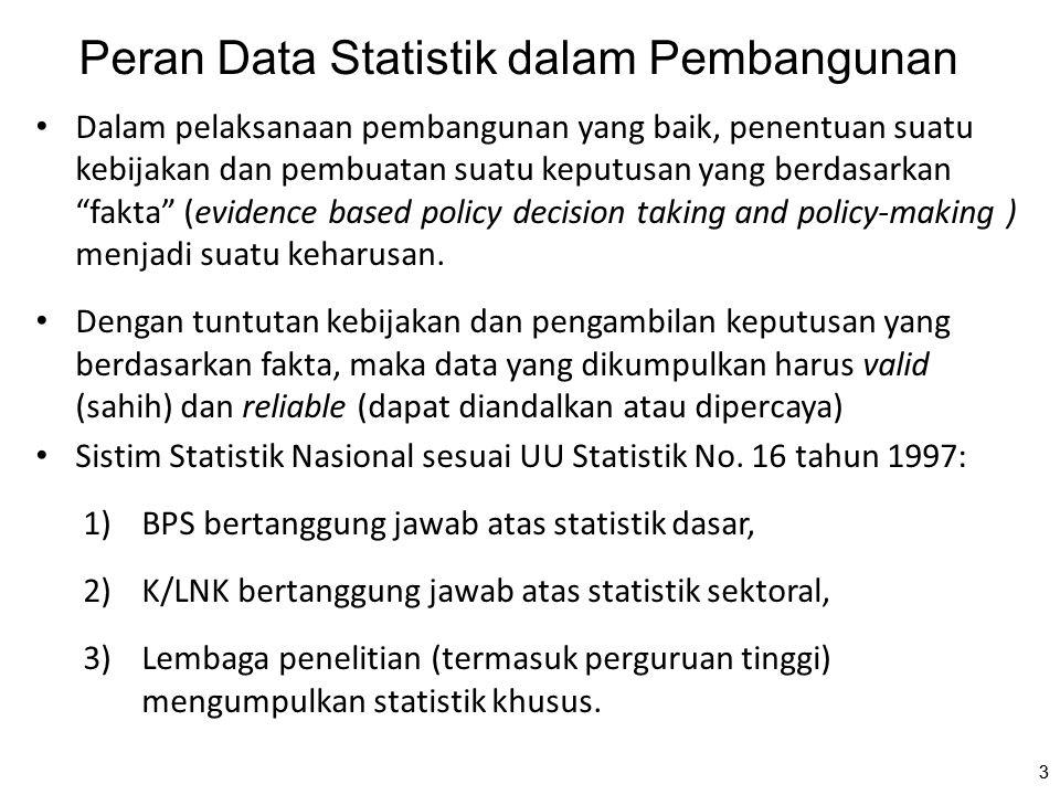 33 Peran Data Statistik dalam Pembangunan Dalam pelaksanaan pembangunan yang baik, penentuan suatu kebijakan dan pembuatan suatu keputusan yang berdas