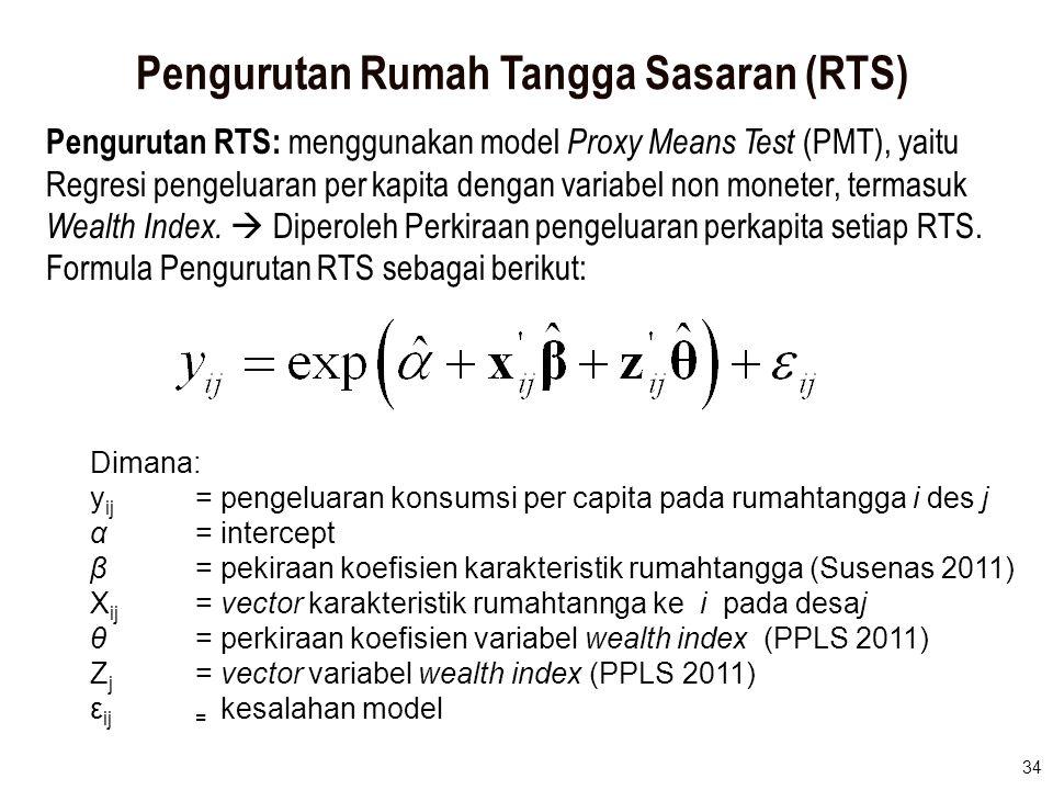 34 Pengurutan Rumah Tangga Sasaran (RTS) Pengurutan RTS: menggunakan model Proxy Means Test (PMT), yaitu Regresi pengeluaran per kapita dengan variabe