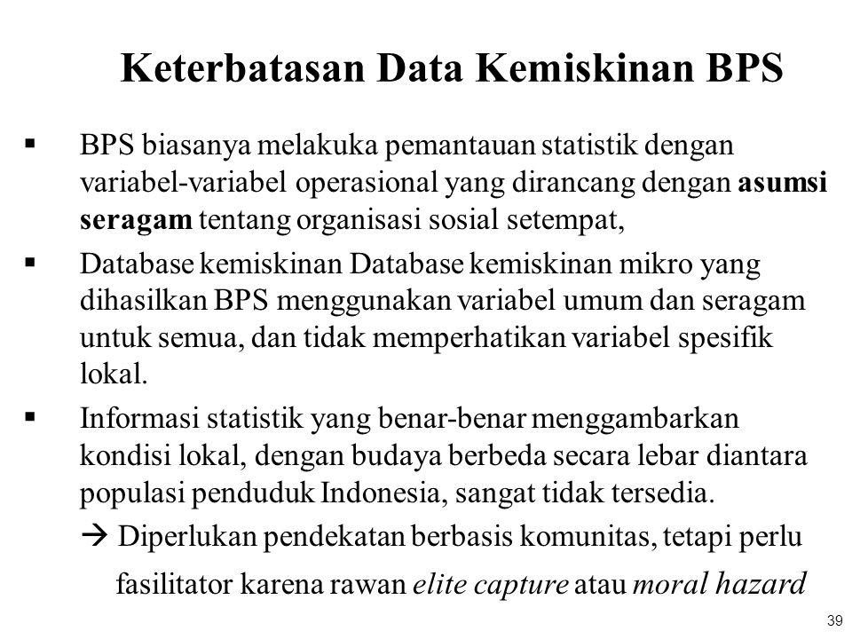 39 Keterbatasan Data Kemiskinan BPS  BPS biasanya melakuka pemantauan statistik dengan variabel-variabel operasional yang dirancang dengan asumsi ser