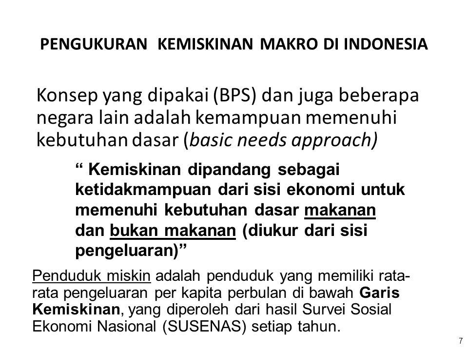 7 PENGUKURAN KEMISKINAN MAKRO DI INDONESIA Konsep yang dipakai (BPS) dan juga beberapa negara lain adalah kemampuan memenuhi kebutuhan dasar (basic ne