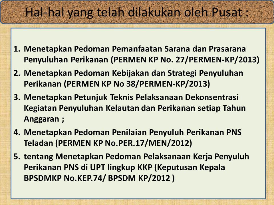 1.Menetapkan Pedoman Pemanfaatan Sarana dan Prasarana Penyuluhan Perikanan (PERMEN KP No.