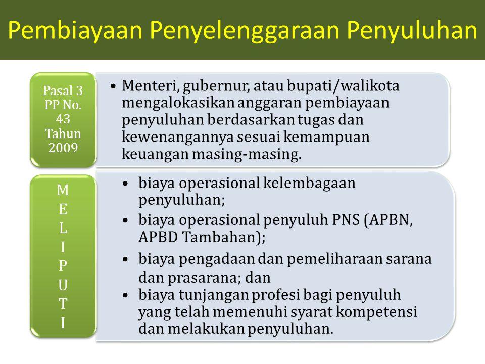 Menteri, gubernur, atau bupati/walikota mengalokasikan anggaran pembiayaan penyuluhan berdasarkan tugas dan kewenangannya sesuai kemampuan keuangan masing-masing.