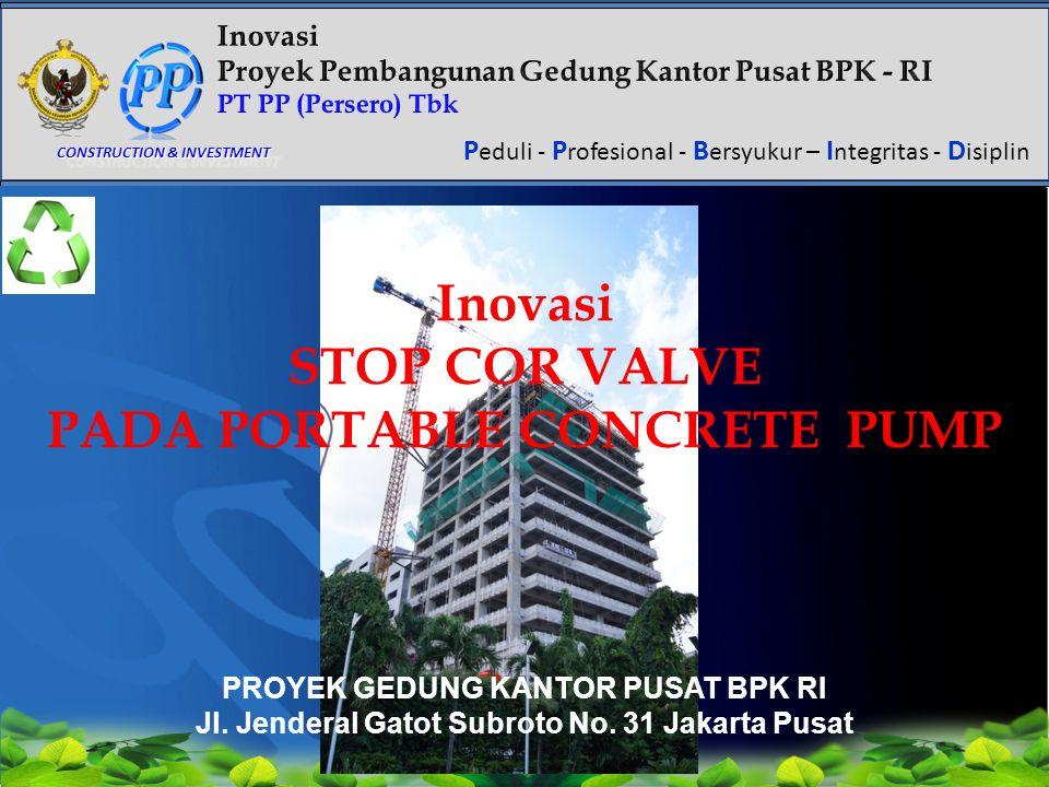 Click to edit Master title style P eduli - P rofesional - B ersyukur – I ntegritas - D isiplin CONSTRUCTION & INVESTMENT Inovasi STOP COR VALVE PADA P
