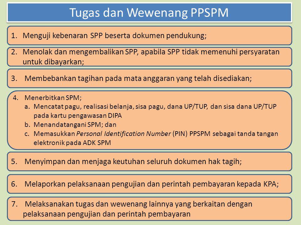 Tugas dan Wewenang PPSPM 1.Menguji kebenaran SPP beserta dokumen pendukung; 2. Menolak dan mengembalikan SPP, apabila SPP tidak memenuhi persyaratan u