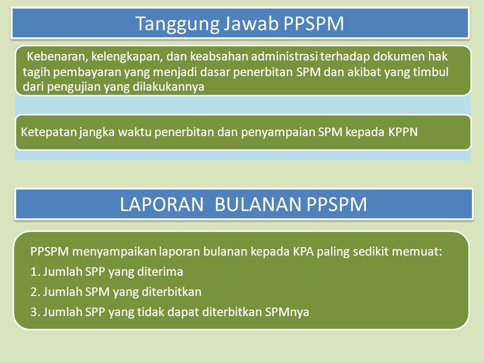 Kebenaran, kelengkapan, dan keabsahan administrasi terhadap dokumen hak tagih pembayaran yang menjadi dasar penerbitan SPM dan akibat yang timbul dari pengujian yang dilakukannya Ketepatan jangka waktu penerbitan dan penyampaian SPM kepada KPPN Tanggung Jawab PPSPM LAPORAN BULANAN PPSPM PPSPM menyampaikan laporan bulanan kepada KPA paling sedikit memuat: 1.