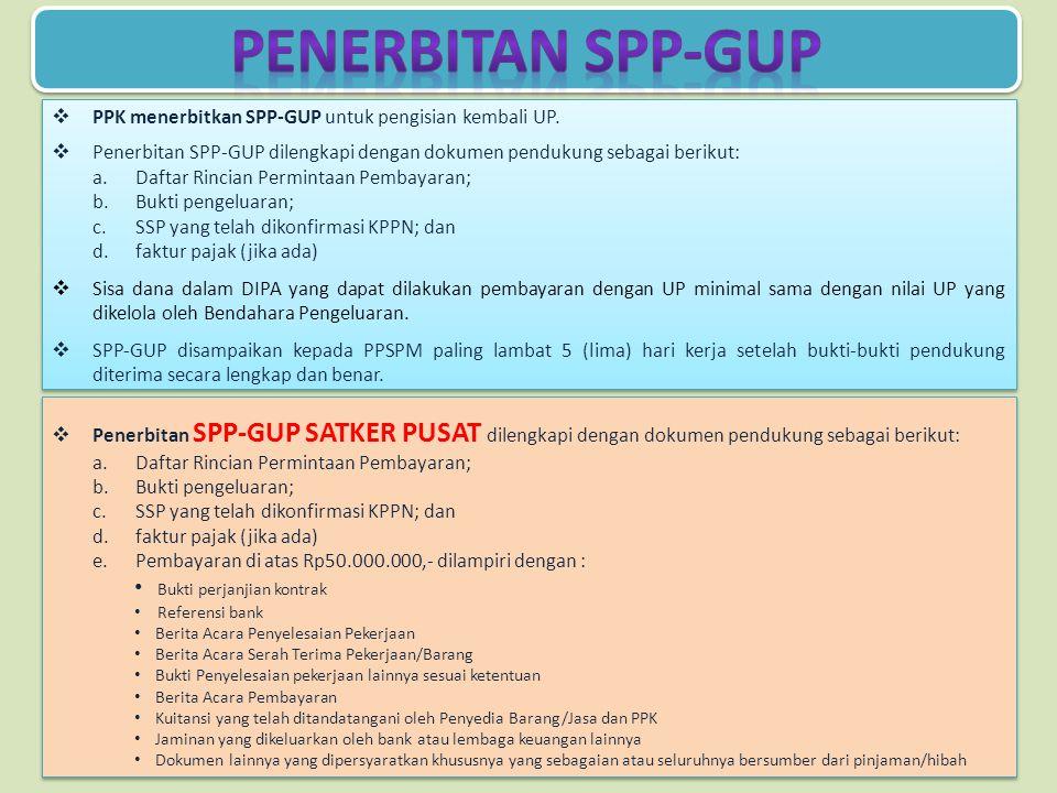  PPK menerbitkan SPP-GUP untuk pengisian kembali UP.  Penerbitan SPP-GUP dilengkapi dengan dokumen pendukung sebagai berikut: a.Daftar Rincian Permi
