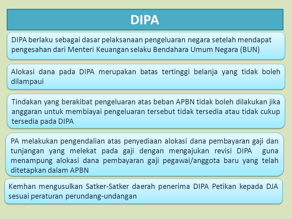 DIPA DIPA berlaku sebagai dasar pelaksanaan pengeluaran negara setelah mendapat pengesahan dari Menteri Keuangan selaku Bendahara Umum Negara (BUN) Al