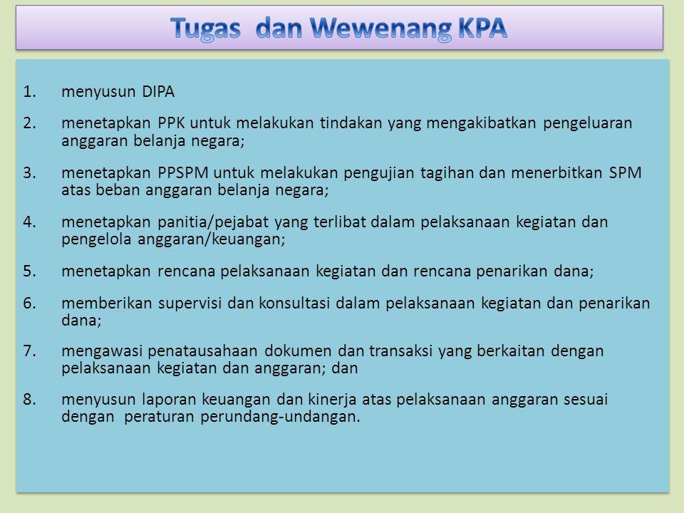 1.menyusun DIPA 2.menetapkan PPK untuk melakukan tindakan yang mengakibatkan pengeluaran anggaran belanja negara; 3.menetapkan PPSPM untuk melakukan pengujian tagihan dan menerbitkan SPM atas beban anggaran belanja negara; 4.menetapkan panitia/pejabat yang terlibat dalam pelaksanaan kegiatan dan pengelola anggaran/keuangan; 5.menetapkan rencana pelaksanaan kegiatan dan rencana penarikan dana; 6.memberikan supervisi dan konsultasi dalam pelaksanaan kegiatan dan penarikan dana; 7.mengawasi penatausahaan dokumen dan transaksi yang berkaitan dengan pelaksanaan kegiatan dan anggaran; dan 8.menyusun laporan keuangan dan kinerja atas pelaksanaan anggaran sesuai dengan peraturan perundang-undangan.
