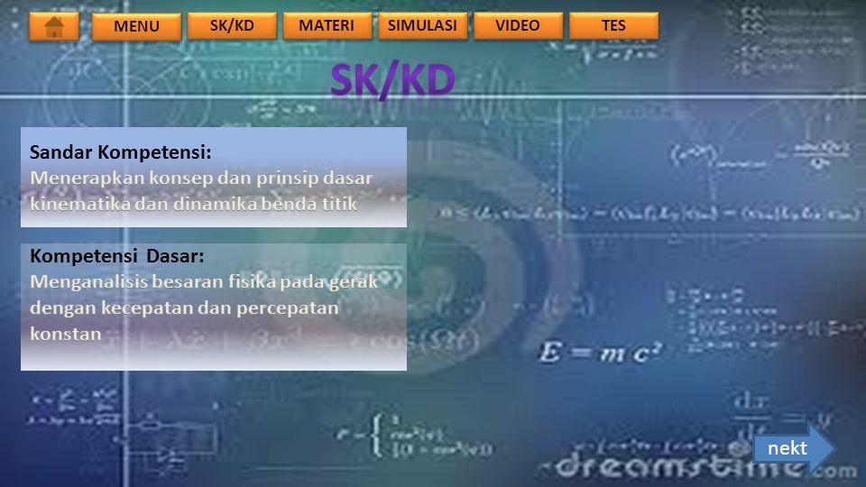 MENU TES VIDEO SIMULASI MATERI SK/KD 1.