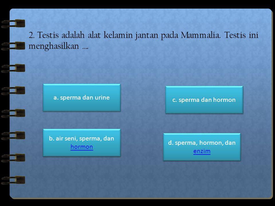 2. Testis adalah alat kelamin jantan pada Mammalia. Testis ini menghasilkan …. a. sperma dan urine c. sperma dan hormon d. sperma, hormon, dan enzim d