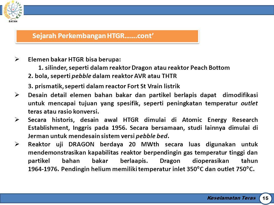 BATAN Keselamatan Teras 15 Sejarah Perkembangan HTGR…….cont'  Elemen bakar HTGR bisa berupa: 1. silinder, seperti dalam reaktor Dragon atau reaktor P