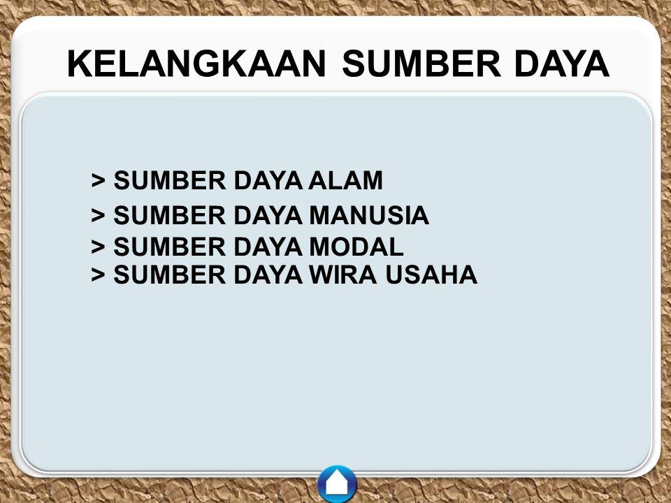 c c KELANGKAAN SUMBER DAYA > SUMBER DAYA ALAM > SUMBER DAYA MANUSIA > SUMBER DAYA MODAL > SUMBER DAYA WIRA USAHA