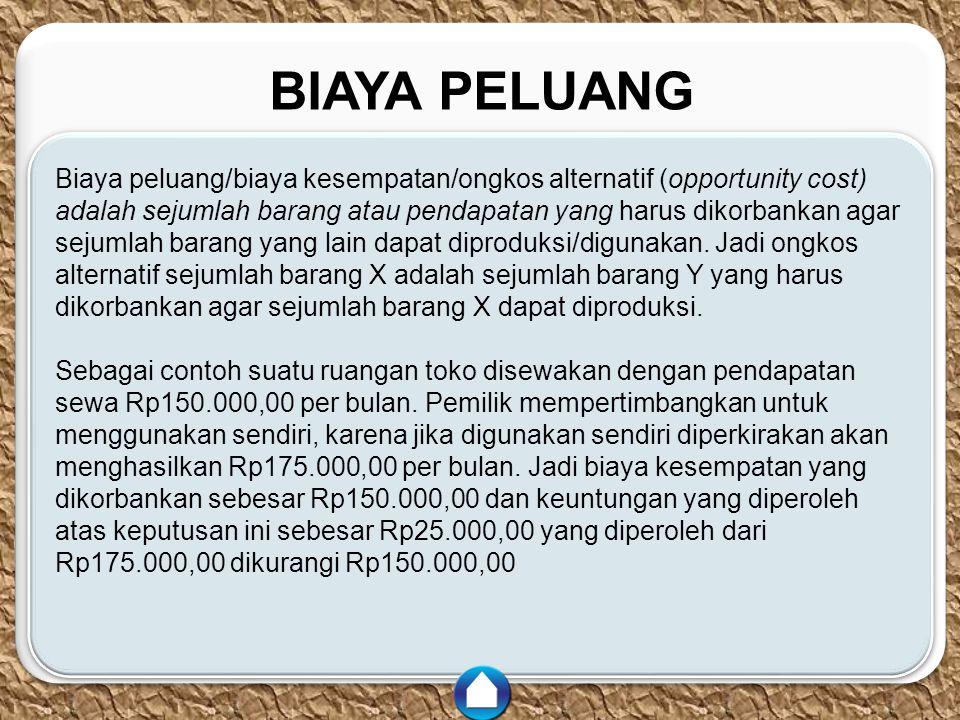 c c BIAYA PELUANG Biaya peluang/biaya kesempatan/ongkos alternatif (opportunity cost) adalah sejumlah barang atau pendapatan yang harus dikorbankan ag