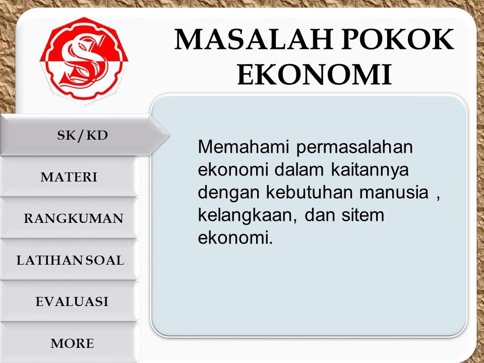 c c SK / KD LATIHAN SOAL RANGKUMAN EVALUASI MORE MATERI MASALAH POKOK EKONOMI Memahami permasalahan ekonomi dalam kaitannya dengan kebutuhan manusia,