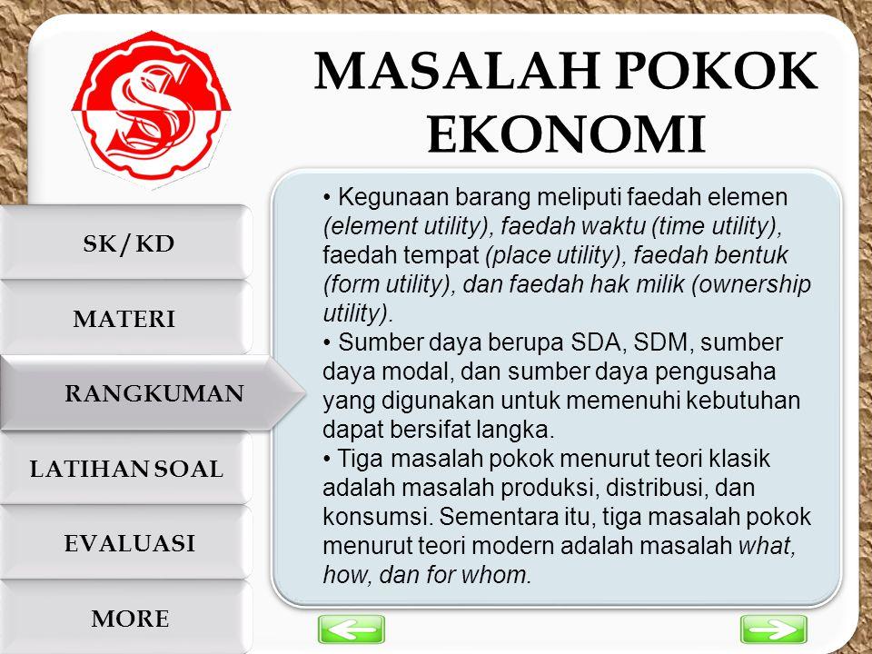 c c SK / KD LATIHAN SOAL EVALUASI MORE MATERI RANGKUMAN Kegunaan barang meliputi faedah elemen (element utility), faedah waktu (time utility), faedah