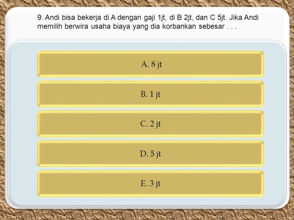 c c A. 8 jt B. 1 jt C. 2 jt D. 5 jt E. 3 jt 9. Andi bisa bekerja di A dengan gaji 1jt, di B 2jt, dan C 5jt. Jika Andi memilih berwira usaha biaya yang