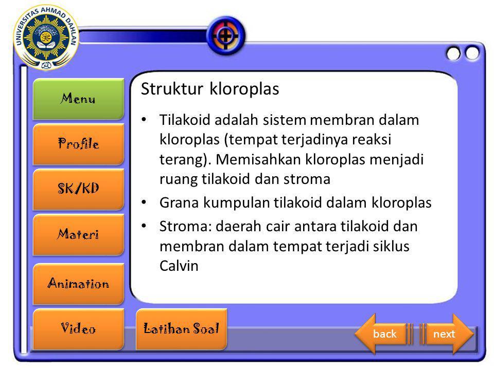 Menu Profile SK/KD Materi Animation Video Latihan Soal Latihan Soal Struktur kloroplas Tilakoid adalah sistem membran dalam kloroplas (tempat terjadin