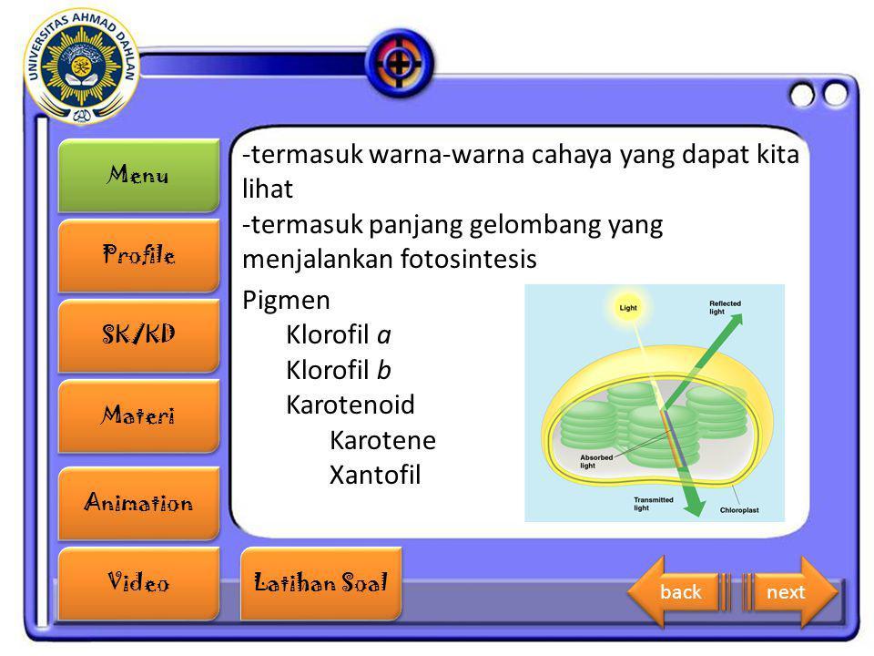 Menu Profile SK/KD Materi Animation Video Latihan Soal Latihan Soal -termasuk warna-warna cahaya yang dapat kita lihat -termasuk panjang gelombang yan