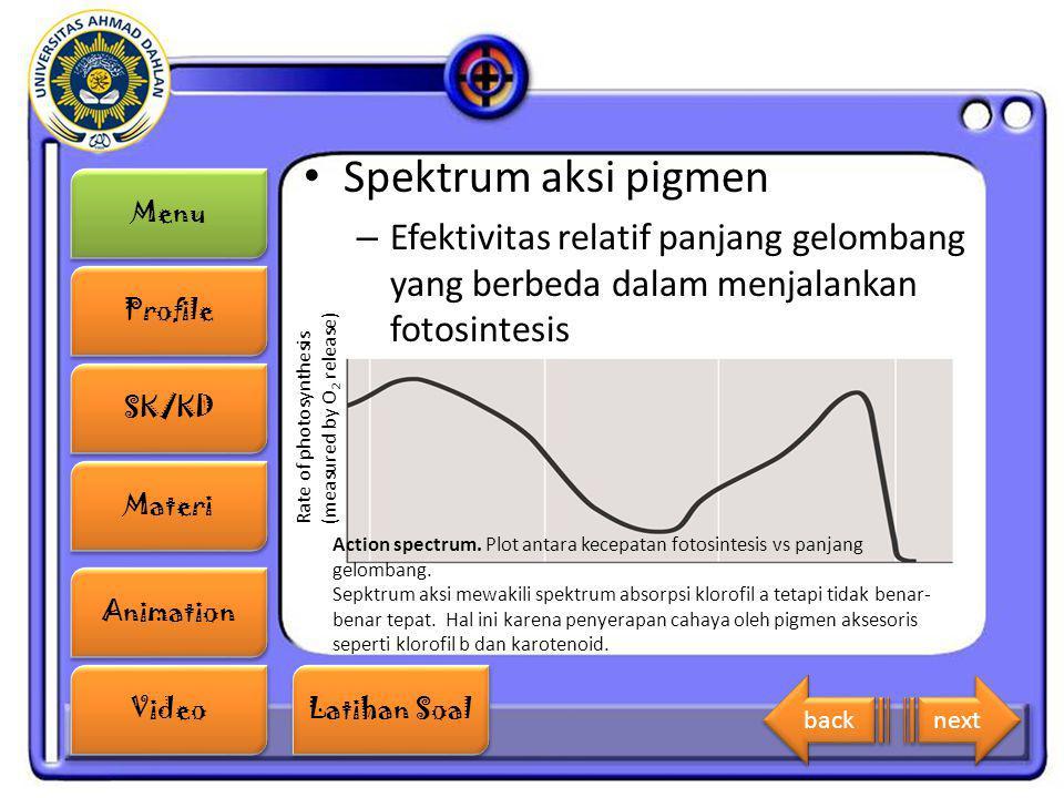 Menu Profile SK/KD Materi Animation Video Latihan Soal Latihan Soal Spektrum aksi pigmen – Efektivitas relatif panjang gelombang yang berbeda dalam me