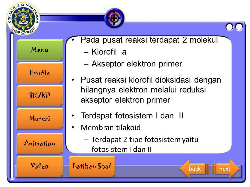 Menu Profile SK/KD Materi Animation Video Latihan Soal Latihan Soal Pada pusat reaksi terdapat 2 molekul –Klorofil a –Akseptor elektron primer Pusat r