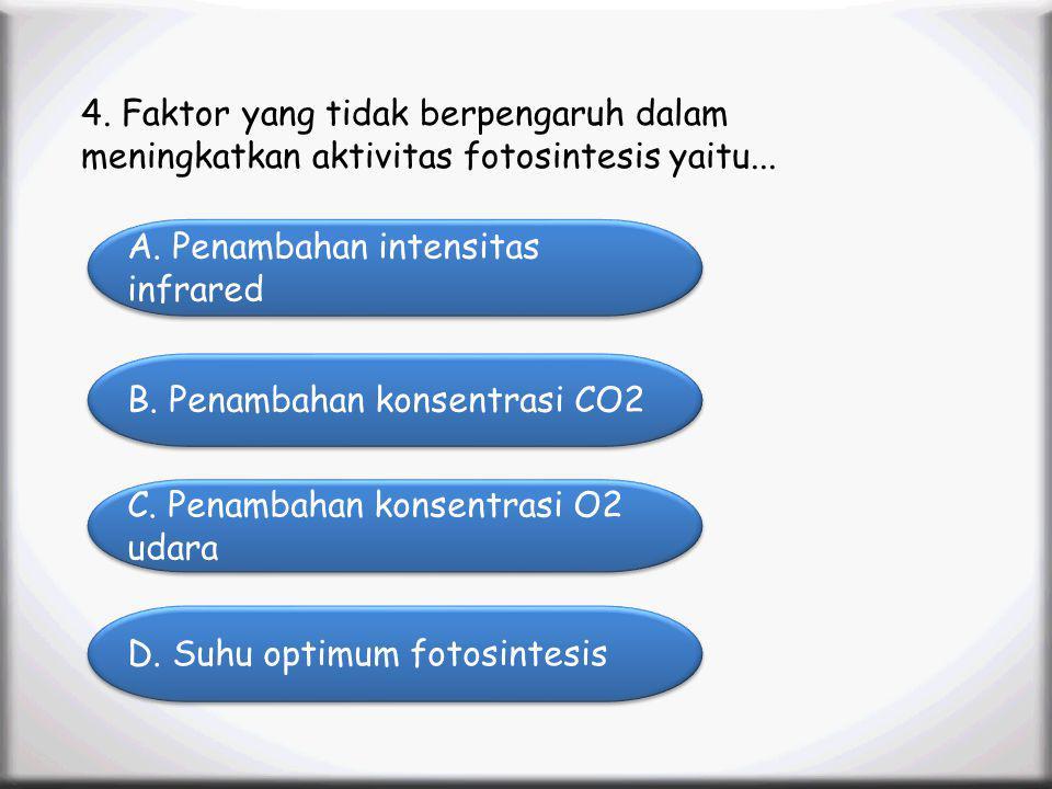 Menu Profile SK/KD Materi Animation Video Latihan Soal Latihan Soal 4. Faktor yang tidak berpengaruh dalam meningkatkan aktivitas fotosintesis yaitu..