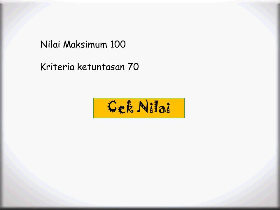 Menu Profile SK/KD Materi Animation Video Latihan Soal Latihan Soal Nilai Maksimum 100 Kriteria ketuntasan 70 Cek Nilai