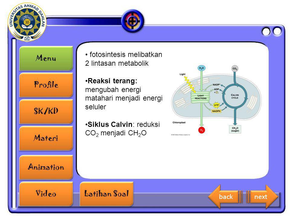 Menu Profile SK/KD Materi Animation Video Latihan Soal Latihan Soal fotosintesis melibatkan 2 lintasan metabolik Reaksi terang: mengubah energi mataha