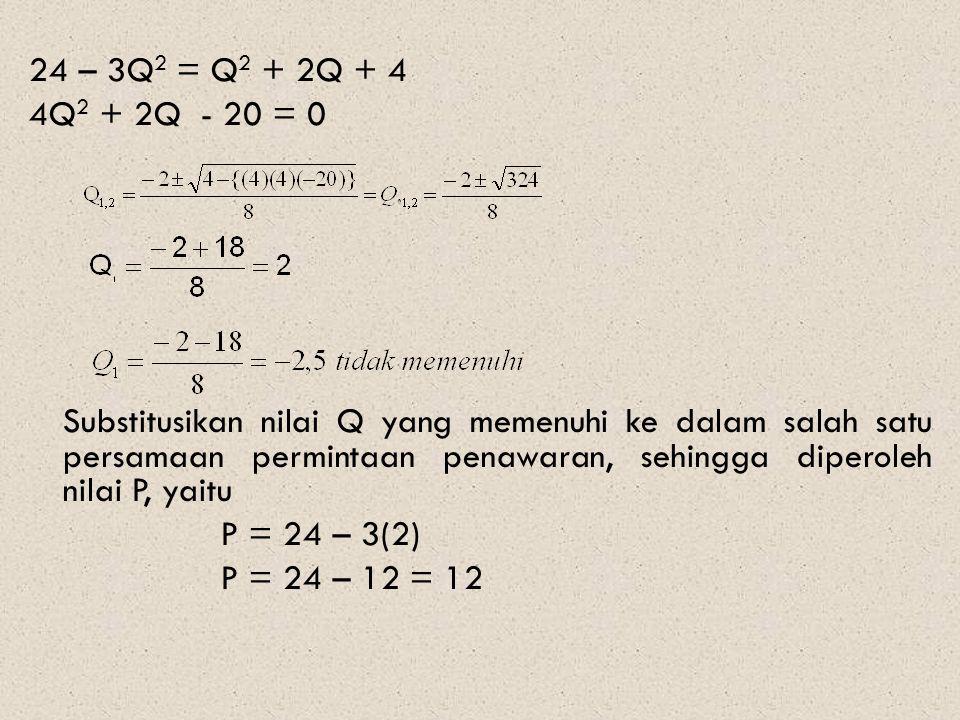 24 – 3Q 2 = Q 2 + 2Q + 4 4Q 2 + 2Q - 20 = 0 Substitusikan nilai Q yang memenuhi ke dalam salah satu persamaan permintaan penawaran, sehingga diperoleh nilai P, yaitu P = 24 – 3(2) P = 24 – 12 = 12