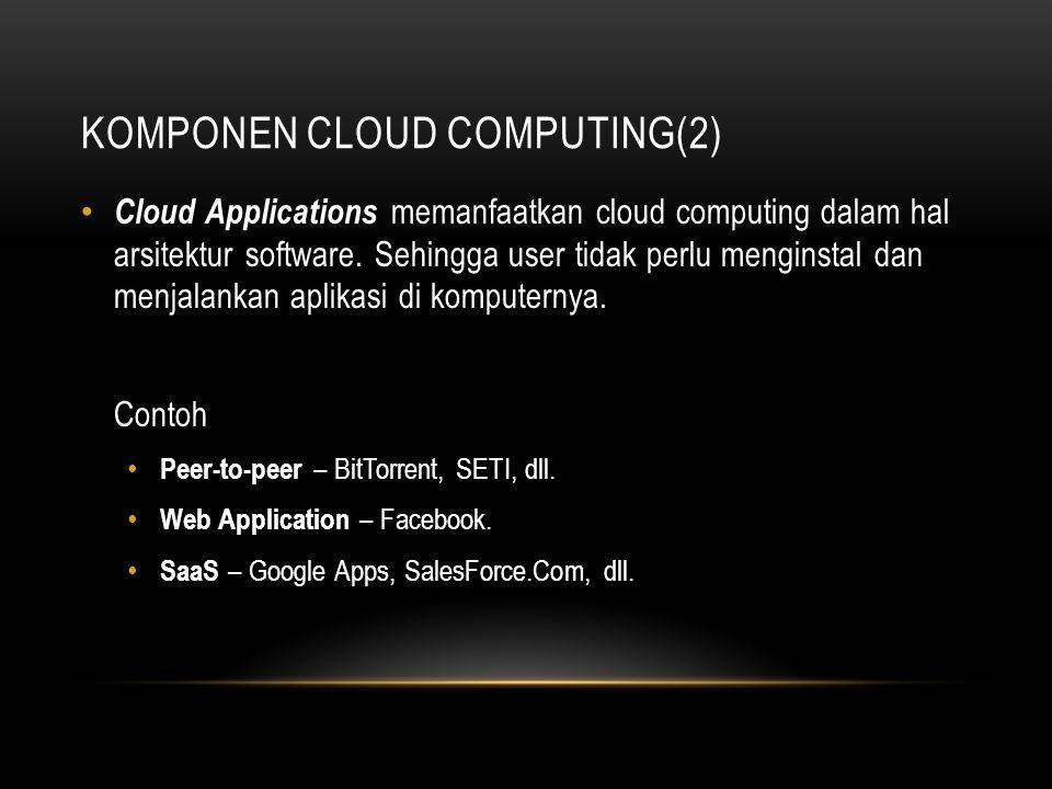 KOMPONEN CLOUD COMPUTING(2) Cloud Applications memanfaatkan cloud computing dalam hal arsitektur software. Sehingga user tidak perlu menginstal dan me
