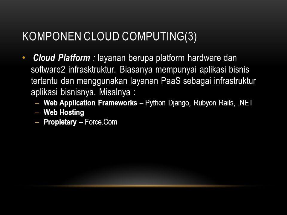 KOMPONEN CLOUD COMPUTING(3) Cloud Platform : layanan berupa platform hardware dan software2 infrasktruktur. Biasanya mempunyai aplikasi bisnis tertent