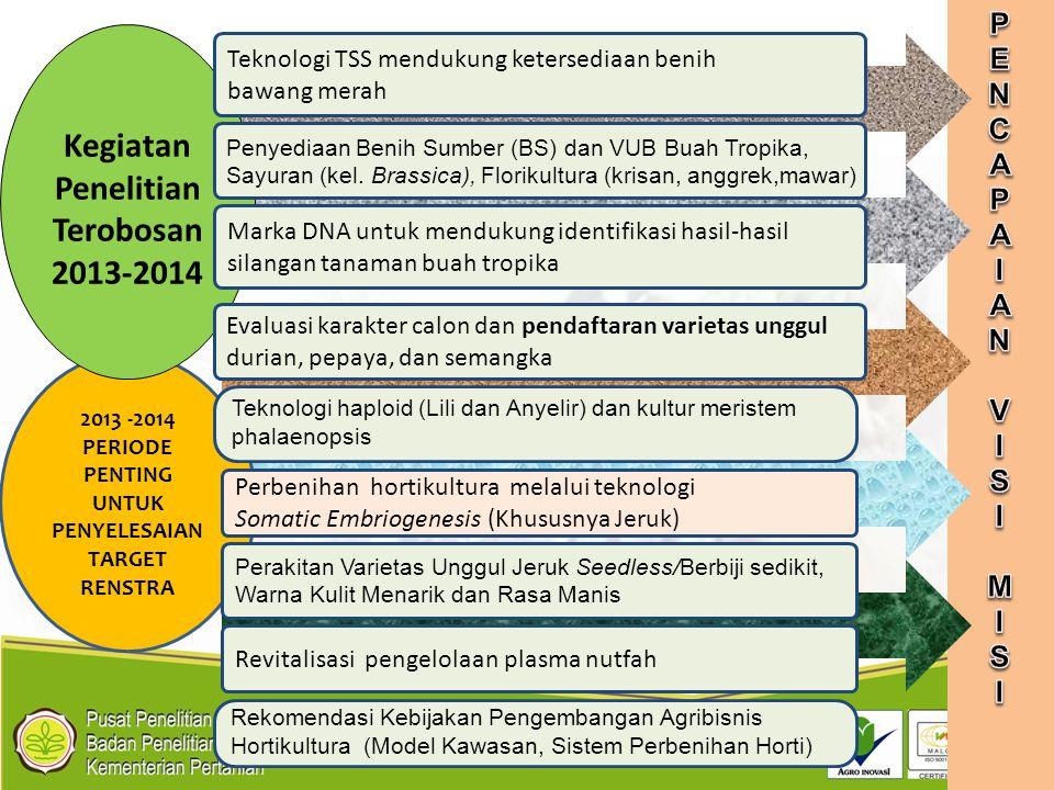 2013 -2014 PERIODE PENTING UNTUK PENYELESAIAN TARGET RENSTRA Kegiatan Penelitian Terobosan 2013-2014 Perbenihan hortikultura melalui teknologi Somatic