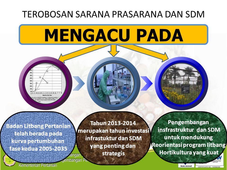 TEROBOSAN SARANA PRASARANA DAN SDM Badan Litbang Pertanian telah berada pada kurva pertumbuhan fase kedua 2005-2035 Tahun 2013-2014 merupakan tahun in