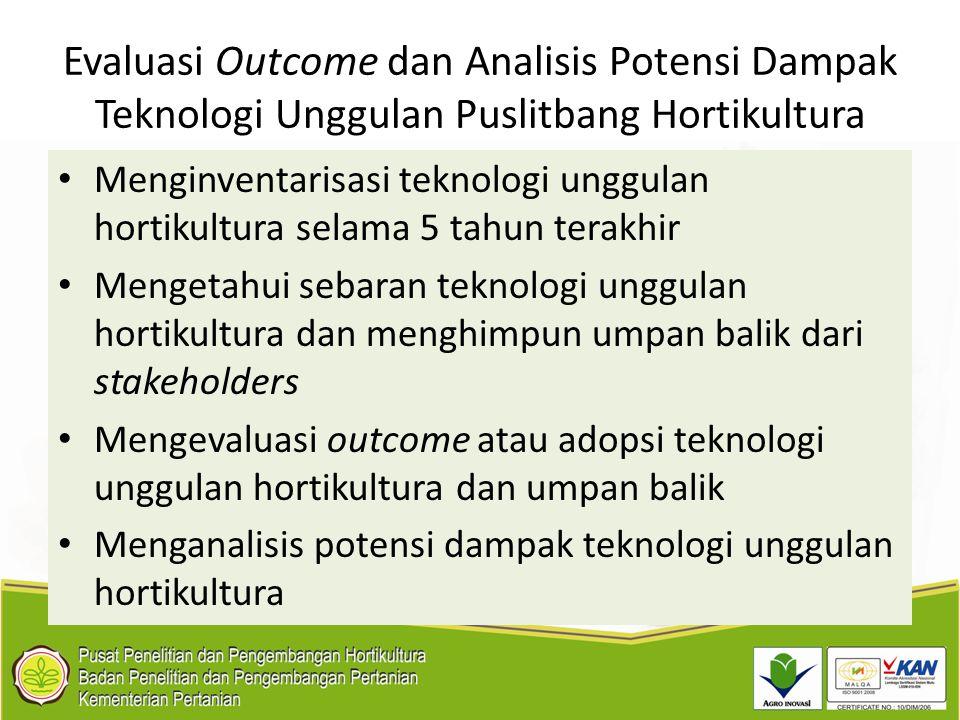 Evaluasi Outcome dan Analisis Potensi Dampak Teknologi Unggulan Puslitbang Hortikultura Menginventarisasi teknologi unggulan hortikultura selama 5 tah