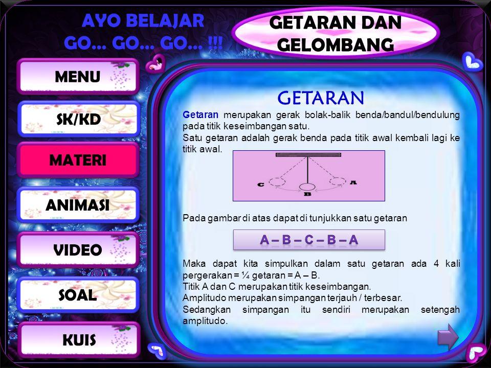 AYO BELAJAR GO… GO… GO… !!! GETARAN Getaran merupakan gerak bolak-balik benda/bandul/bendulung pada titik keseimbangan satu. Satu getaran adalah gerak