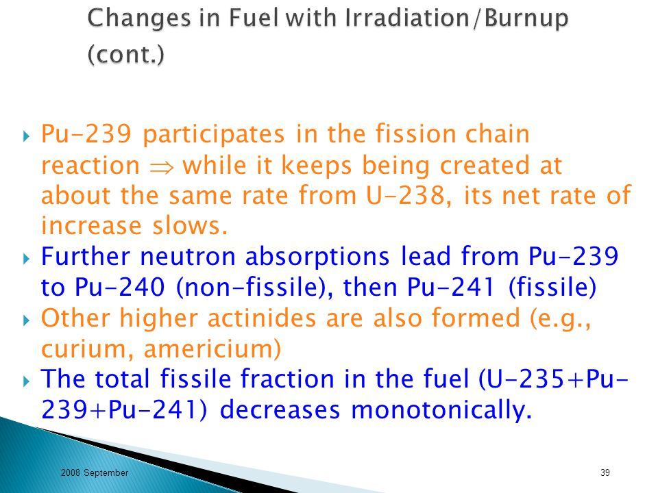  Pu-239 participates in the fission chain reaction  while it keeps being created at about the same rate from U-238, its net rate of increase slows.
