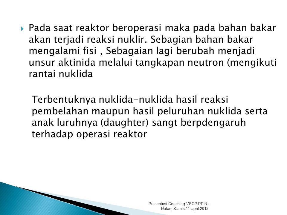  Pada saat reaktor beroperasi maka pada bahan bakar akan terjadi reaksi nuklir.