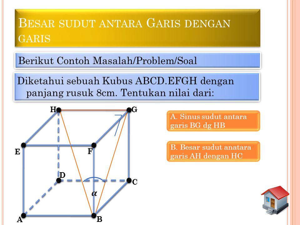 B ESAR SUDUT ANTARA G ARIS DENGAN GARIS Berikut Contoh Masalah/Problem/Soal Diketahui sebuah Kubus ABCD.EFGH dengan panjang rusuk 8cm. Tentukan nilai