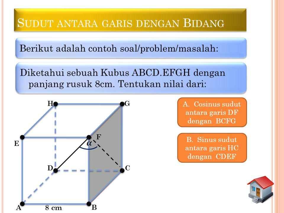 S UDUT ANTARA GARIS DENGAN B IDANG Berikut adalah contoh soal/problem/masalah: Diketahui sebuah Kubus ABCD.EFGH dengan panjang rusuk 8cm. Tentukan nil