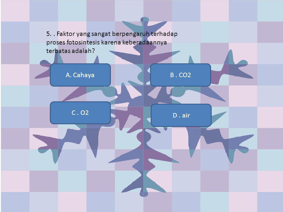 5.. Faktor yang sangat berpengaruh terhadap proses fotosintesis karena keberadaannya terbatas adalah? A. Cahaya D. air C. O2 B. CO2