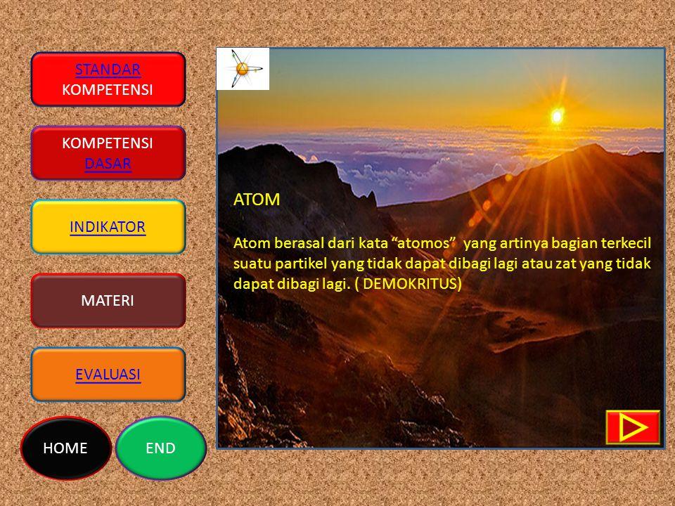 ATOM Atom berasal dari kata atomos yang artinya bagian terkecil suatu partikel yang tidak dapat dibagi lagi atau zat yang tidak dapat dibagi lagi.