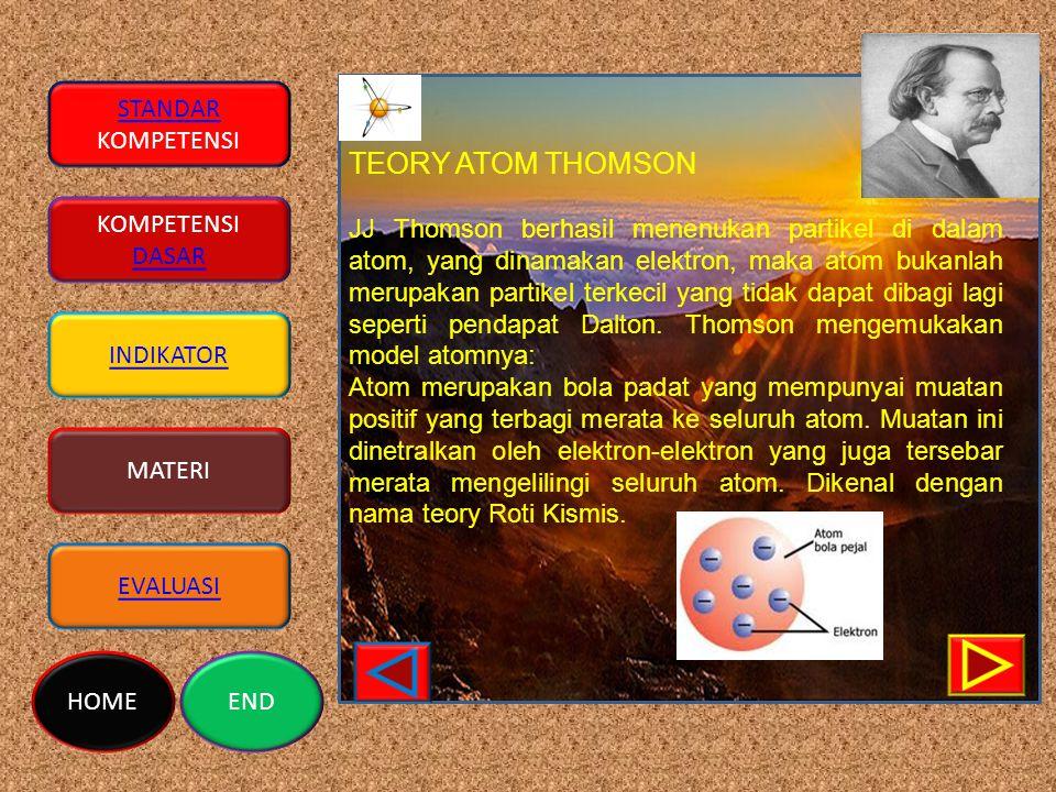 STANDAR KOMPETENSI DASAR INDIKATOR MATERI EVALUASI HOMEEND TEORY ATOM THOMSON JJ Thomson berhasil menenukan partikel di dalam atom, yang dinamakan elektron, maka atom bukanlah merupakan partikel terkecil yang tidak dapat dibagi lagi seperti pendapat Dalton.