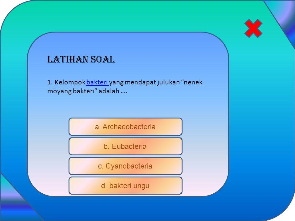 """Latihan soal a. Archaeobacteria b. Eubacteria c. Cyanobacteria d. bakteri ungu 1. Kelompok bakteri yang mendapat julukan """"nenek moyang bakteri"""" adalah"""