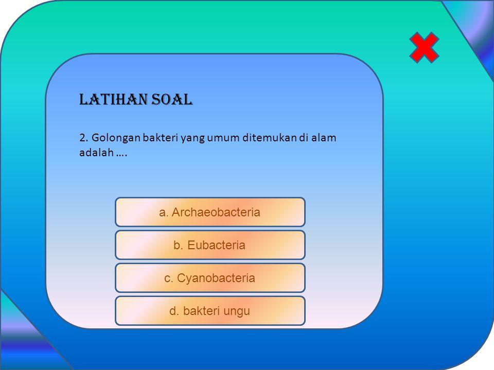 Latihan soal a. Archaeobacteria b. Eubacteria c. Cyanobacteria d. bakteri ungu 2. Golongan bakteri yang umum ditemukan di alam adalah ….