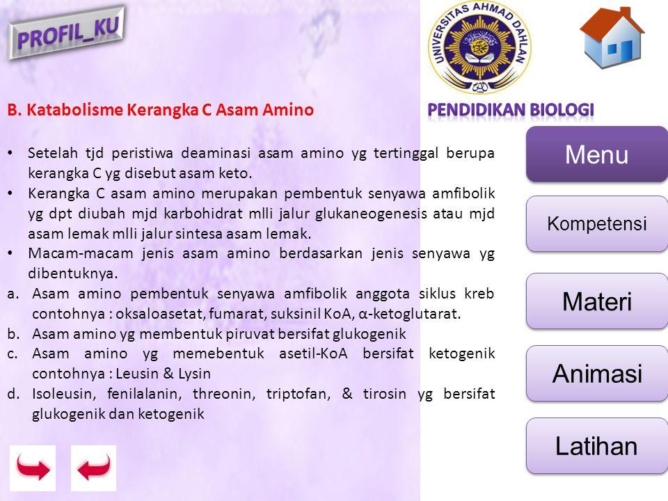 Menu Kompetensi Materi Animasi Latihan B. Katabolisme Kerangka C Asam Amino Setelah tjd peristiwa deaminasi asam amino yg tertinggal berupa kerangka C