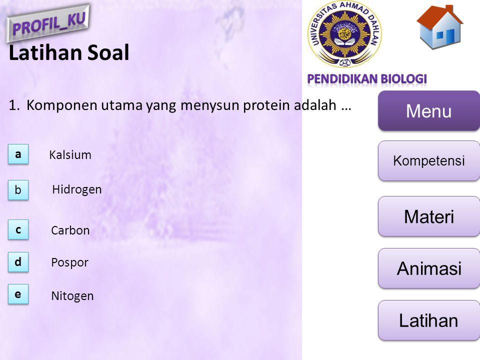 Menu Kompetensi Materi Animasi Latihan Latihan Soal 1.Komponen utama yang menysun protein adalah … a a b b e e c c d d Kalsium Hidrogen Carbon Pospor