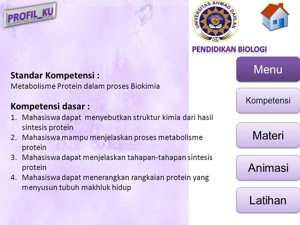 Menu Kompetensi Materi Animasi Latihan Standar Kompetensi : Metabolisme Protein dalam proses Biokimia Kompetensi dasar : 1.Mahasiswa dapat menyebutkan