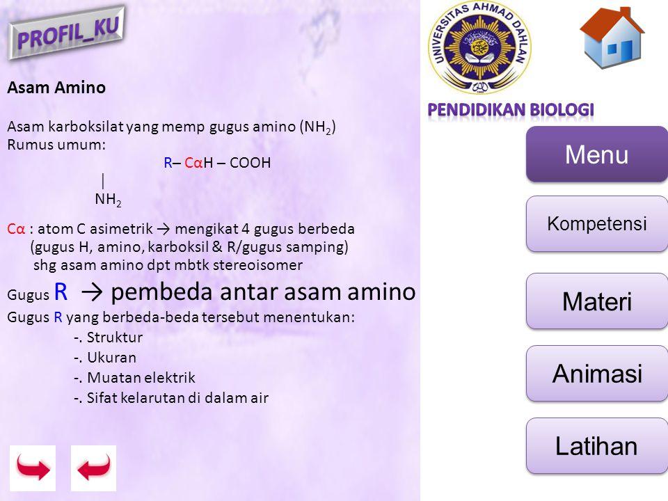Menu Kompetensi Materi Animasi Latihan Asam Amino Asam karboksilat yang memp gugus amino (NH 2 ) Rumus umum: R─ CαH ─ COOH │ NH 2 Cα : atom C asimetri