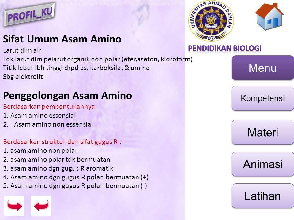 Menu Kompetensi Materi Animasi Latihan Biosintesis protein