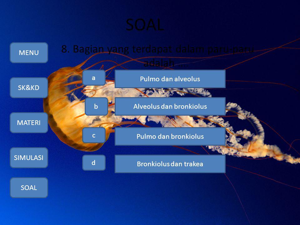 SOAL 8. Bagian yang terdapat dalam paru-paru adalah …. MENU SK&KD MATERI SIMULASI SOAL a b c d Pulmo dan alveolus Alveolus dan bronkiolus Pulmo dan br