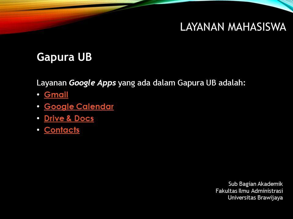 LAYANAN MAHASISWA Gapura UB Layanan Google Apps yang ada dalam Gapura UB adalah: Gmail Google Calendar Google Calendar Drive & Docs Drive & Docs Conta